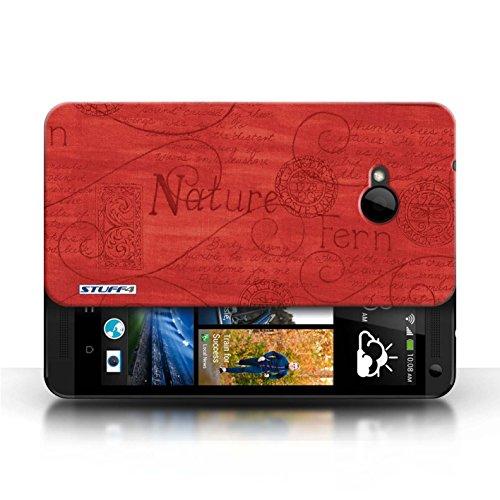 Etui / Coque pour HTC One/1 M7 / Rouge conception / Collection de Motif Nature