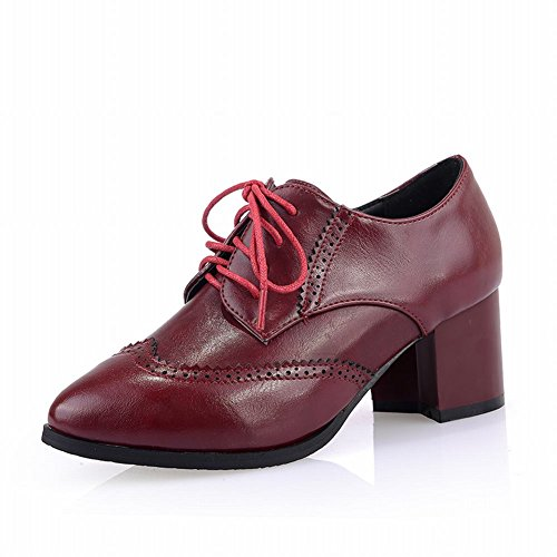 Pointed Lace Red toe Fashion Womens Oxfords up Wine Chunky Retro British Carol Heel Style Middle Shoes Shoes wRHHt