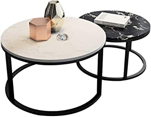 NJYT Nesting Side Table Modern High Gloss Sofa Coffee Table Living Room Furniture End Table for KTV Bars and Hotels Set of 2