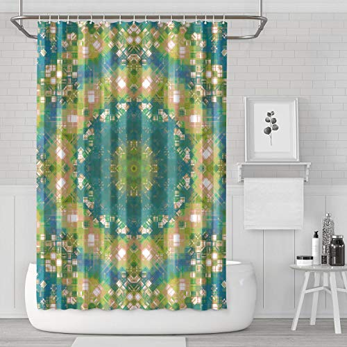YIWNG Shower Curtain Mandala Abstract Pattern Wallpaper Bright Color Fabric Bathroom for Hotel ()