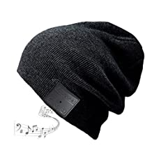 Blue ear® Bluetooth Wireless Music Knitted Beanie With Stereo Speaker And MIC V4.1 Version Up to 8 Hours Long Playing Time(H09 Black)