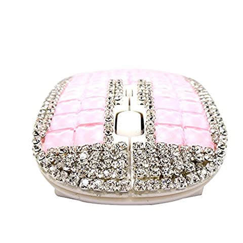 Pink Wireless Mouse, Hepix 2.4Ghz Crystal Rhinestone Flat Computer Mouse with Nano USB Receiver, 3 Buttons for Notebook, PC, Laptop, Computer, (Ipad Mouse Pen)