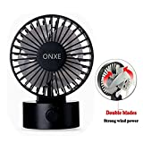 ONXE Quiet Desk FAN, Small Mini USB Table Desk Desktop Personal Fan Cooling for Room Office (2 Speed Modes Dual Blades Simulate natural wind, High Compatibility) - Black