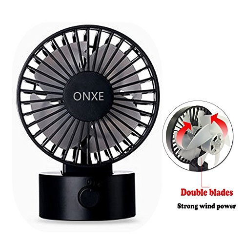 ONXE Quiet Desk FAN, Small Mini USB Table Desk Desktop Personal Fan Cooling for Room Office (2 Speed Modes Dual Blades Simulate natural wind, High Compatibility) - Black by ONXE