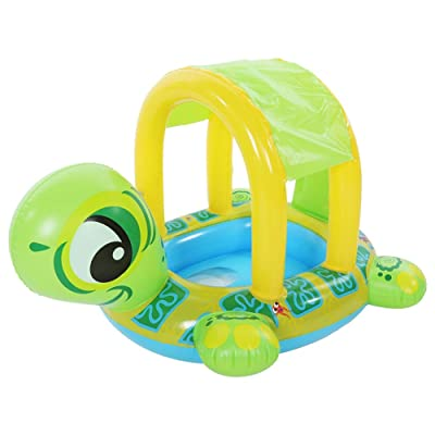 Summer Baby Inflatable Swimming Rings Safety Sit Removable Cartoon Canopy Swimming Pool for Toddlers Kids : Baby