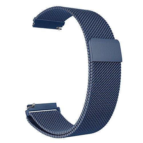 Fintie Galaxy Watch 46mm / Gear S3 Frontier Classic Band [Large], 22mm Milanese Loop Stainless Steel Replacement Smartwatch Bracelet Wrist Strap with [Unique Magnet Lock] for Women Men, Navy