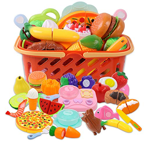- DigHeath 34pcs Pretend Play Food Set,Kitchen Cutting Toys,BPA Free Plastic Fruits & Vegetables for Kids with Realistic Basket,Knife and Chopping Board,Best Children Educational Play Set