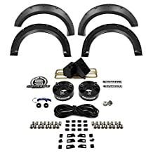 "Supreme Suspensions - Ford F150 3.5"" with 3"" Rear 2WD Front Leveling Lift Kit CNC Machined Billet (Black) 4x2 Suspension Spacers + 4 Piece Front and Rear Textured Fender Flares by Spyder Auto"