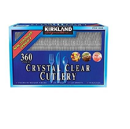 Kirkland Signature Crystal Clear - Cubertería (180 tenedores, 120 cucharas, 60 cuchillos)