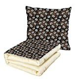 iPrint Quilt Dual-Use Pillow Brown and Blue Flowers with Vertical Dotted Lines Abstract Floral Arrangement Art Decorative Multifunctional Air-Conditioning Quilt Bluegrey White Brown
