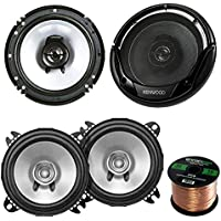 2 Pair Car Speaker Package Of 2x Kenwood KFC-C1355S 5 1/4 250-Watt 2-Way Flush Mount Coaxial Speakers + 2x KFC-1665S 6 1/2 Inch 2-Way Audio Speaker + Enrock 16g 50 Ft Speaker Wire