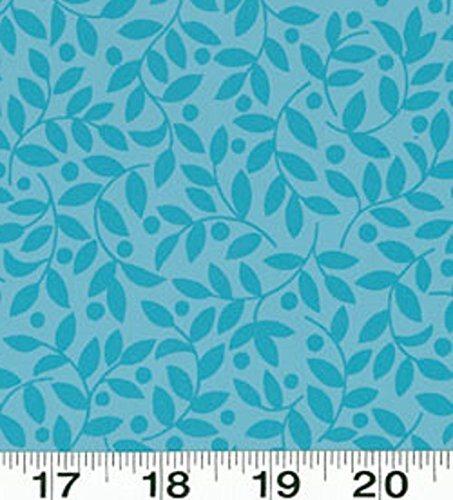 - 1 Yard Suzette by Sue Zipkin from Clothworks Dark Aqua Leaves 100% Cotton Quilt Fabric Y0910-34 Dark Aqua