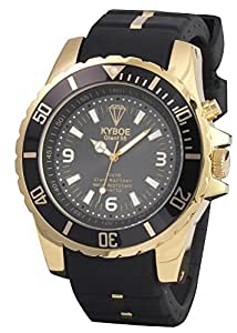 Kyboe Stainless Steel Gold Series Unisex Black Dial Silicon Rubber Watch-KG-001, Black