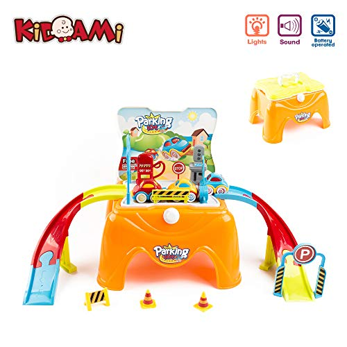 KIDAMI Car Parking Garage Toys Folds into Step-Stool Including Tracks with Lights Sounds and 3 Cars Easy Carry and Storage for Kids