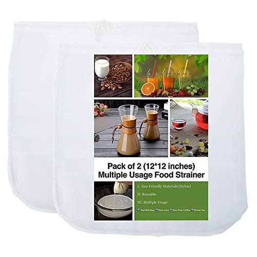 2 Pack - 80 Micron Nut Milk Bag - 12'X12' - Multiple Usage Reusable Food...