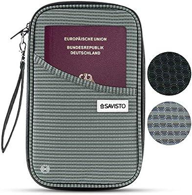 f47f3b3f9c454 Savisto Reise Dokumententasche - RFID Blocker Reisepasshülle