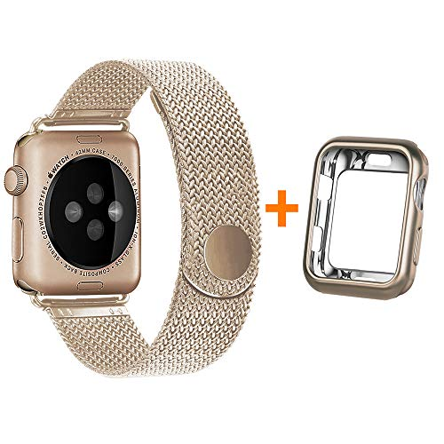 HONEJEEN Compatible with Apple Watch Band 40mm with Case, Stainless Steel Mesh with Adjustable Magnetic Closure Replacement for iWatch Band Series 4 3 2 1