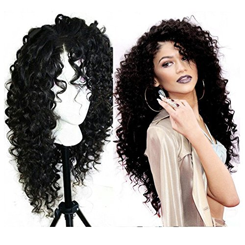 Wigshow Deep Curly Heat Resistant Lace Front Synthetic Hair Wigs For Black