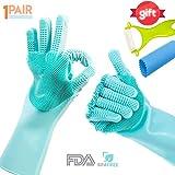 OGGO Magic Silicone Gloves-Magic Silicone Dishwashing Gloves-Scrubby Washing Gloves-Silicone Gloves with Wash Scrubber-Dish Gloves with Scrubber-Silicone Scrubber Gloves-Silicone Magic Gloves-1PAIR