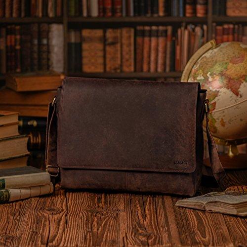 Cuero Fox Bandolera auténtico Oxford el Nuezmoscada Estilo de LEABAGS Bolso en búfalo Vintage qPxSXRFaEw