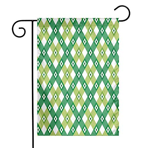 Mannwarehouse Floral Garden Flag Striped Retro Flower Motif with Abstract Lines Groovy Old Fashion Premium Material W12 x L18 Forest and Lime Green White