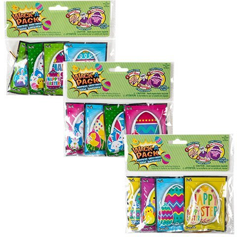 Easter Egg Wack-a-pack Balloon Surprise! 3 Pack of 4 Self-inflating Foil Balloons- Various Designs