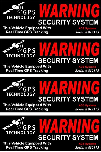 4 Set Credible Unique Warning GPS Tracking Security System Technology This Vehicle Equipped with Real Time Inside Adhesive Sticker Sign Under Cameras Protect Video Surveillance Decals Size - Mile Beer Video