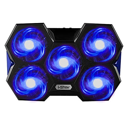 Usb Cooler Notebook (I-Star Laptop Cooling Pad, 2 USB Powered Silent Gaming Laptop Notebook Cooler Cooling Pad Stand with 5 Fans and Blue LED Lights for MacBook Pro, Fits 12
