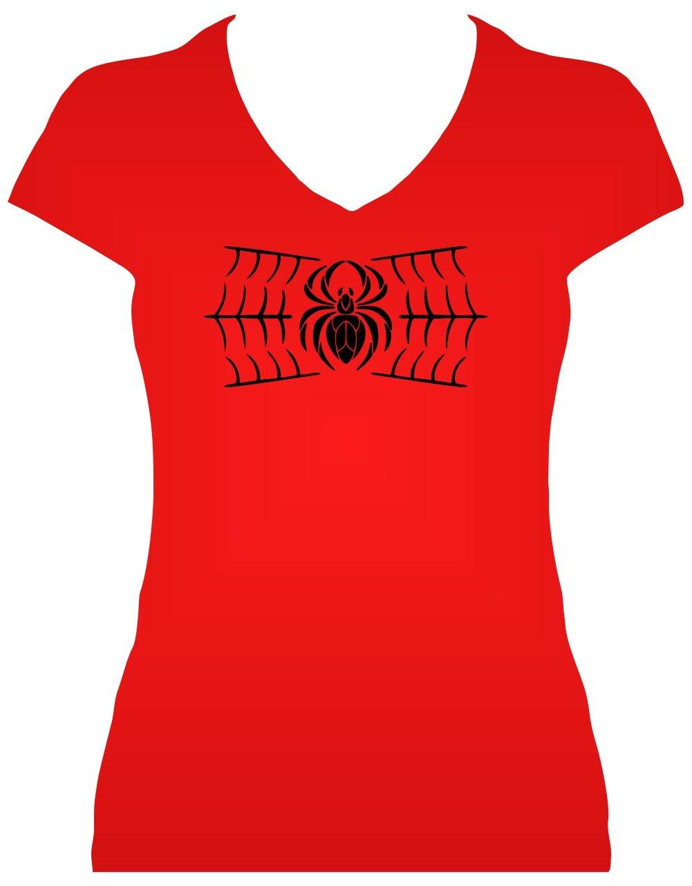 Premium Fun Shirt Spinne im Netz Damen Gothic Shirt mit Glitzeraufdruck:  Amazon.de: Bekleidung