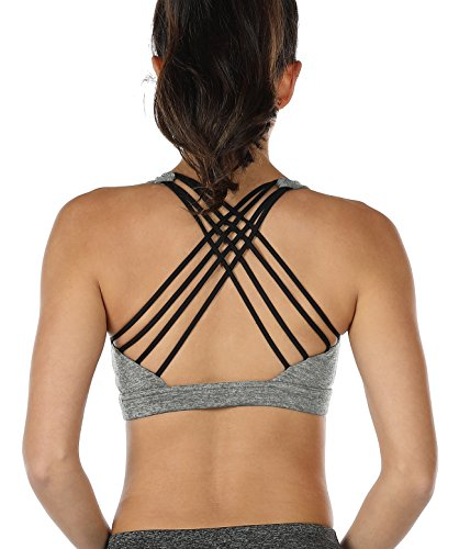 icyzone Sports Bras for Women - Activewear Strappy Padded Workout Yoga Tops Bra (S Grey) by icyzone