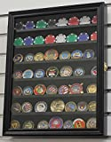 Black Finish Poker Chip Antique Bullion Coin Display Case With Glass Door Solid Wood