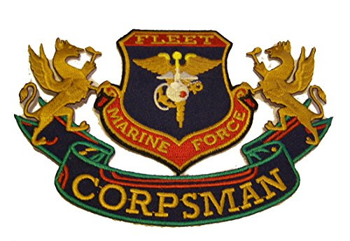 (FLEET MARINE FORCE FMF CORPSMAN Cut Out PATCH. Beautiful Color! - Veteran Owned)