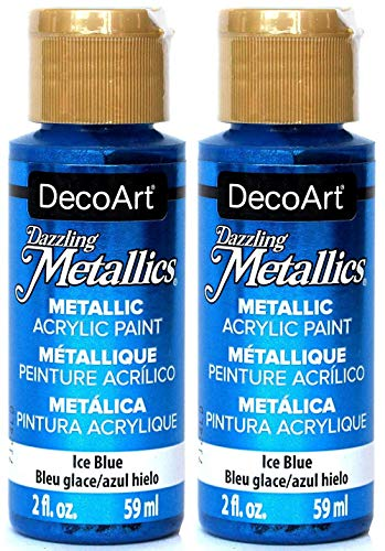 2-Pack - DecoArt Dazzling Metallics Acrylic Colors - Blue, 2-Ounces - Paint Blue Metallic
