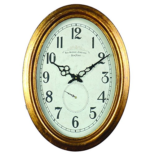 Derby Fifth Avenue Decorative Wall Clock, Vintage Unique Wall Clock for Outdoor and Home Decor, Gold