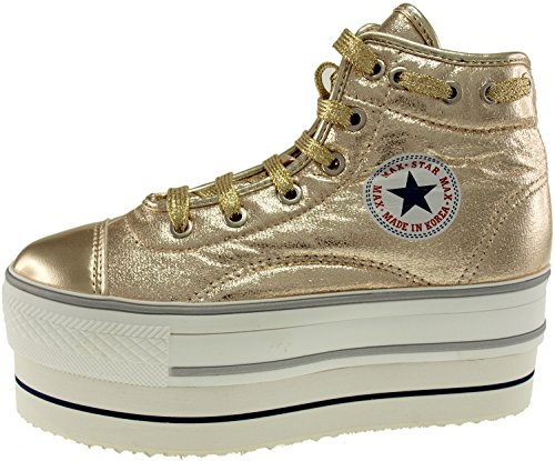 Sneakers Gold Lace Round Double Shoes High Maxstar Synthetic Platform Top Leather gqnZH8HSO
