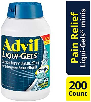 Advil Liqui-Gels Minis, 200 Count, Ibuprofen 200mg, Pain Reliever / Fever Reducer Liquid Filled Capsule, Fast Pain Relief For Headaches, Back Pain, and Muscle Pain, Easy to Swallow