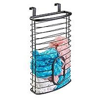 mDesign Metal Over Cabinet Kitchen Storage Basket, Holds 50 Plastic Bags