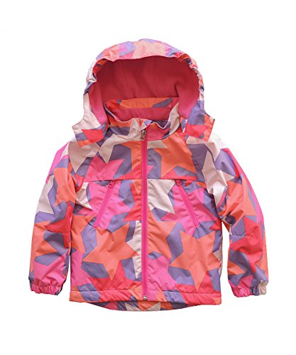 M2C Girls Hooded Patterned Fleece Lined Waterproof Jacket 7/8 Pink (Patterned Raincoat)