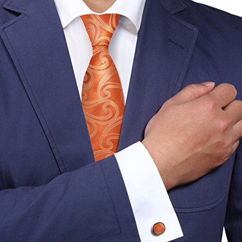 Burnt Orange Swirl Tie for Men Pattern Birthday Present Man Handmade Neckties Cufflinks Set A1140 One Size Burnt orange (Present Swirl)