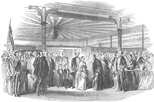 STAFFS. Presentation of addresses to Queen, Tamworth - 1853 - old antique vintage print - engraving art picture prints of Staffs Society - Illustrated London - Tamworth Pictures