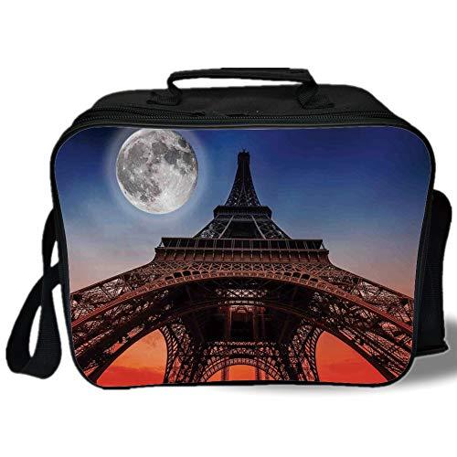 Insulated Lunch Bag,Eiffel Tower Decor,Full Moon Night Sky D