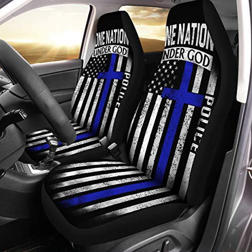 VTH Global Police Officer Gifts USA Thin Blue Line Lives Matter Support Police Pride American Flag Custom Car Seat Covers Set of 2 Size Universal Fit