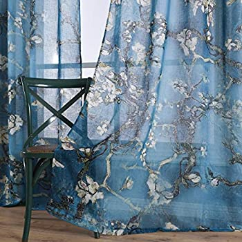 Taisier Home Chinese Style Plum Blossom Sheer Curtain Artistic Print Curtains 84 Inches Long for Living Room,Personalized Pattern Curtains 2 Panels Set(Grommet Top Style)
