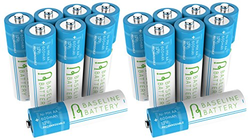 16 AA 600mAh NI-MH Rechargeable Batteries Baseline Battery NIMH for Solar Path Garden Lights, Appliances, Remotes