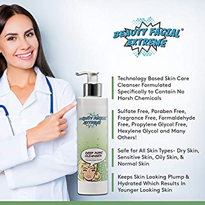 Deep Pore Cleanser - Contains Natural and Essential Ingredients to Remove Excess Oils, Dirt, and Residues. Highly Effective to Shrink, and Reduce the Appearance of Enlarged Clogged Pores.