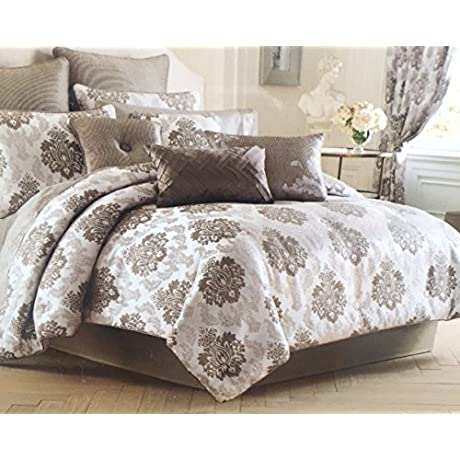 J Queen New York Brighton Queen Comforter Set Silver Grey