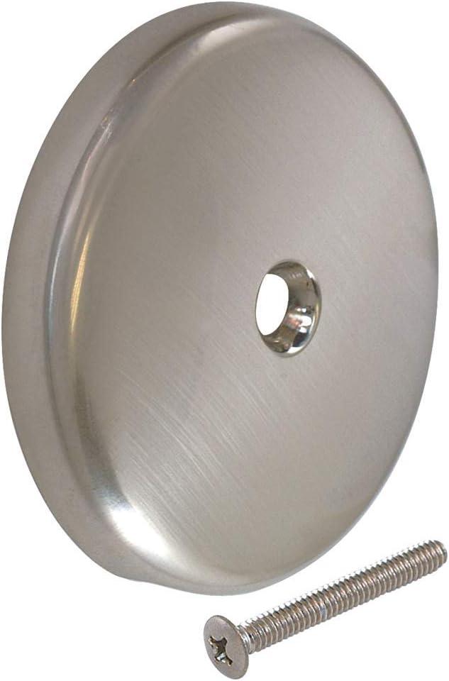Push /& Lift Brass Bathtub Stopper W//2 Screw Overflow Face Plate in Satin Nickel