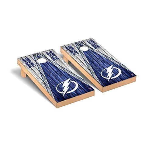 Tampa Bay Lightning Cabinet - Victory Tailgate Tampa Bay Lightning NHL Regulation Cornhole Game Set Weathered Triangle Version
