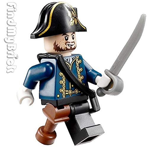 PM109 Lego Pirates The Caribbean Fountain Youth Hector Barbossa Minifigure Pegleg Loose from 4192 ( New Lego Sold Loose as Image Show ) -