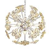 Electro_BP;SZBP1710 Art Noble Retro Vintage Metal Large Chandelier With Crystal flower, 9 Lights, chrome Finish Review